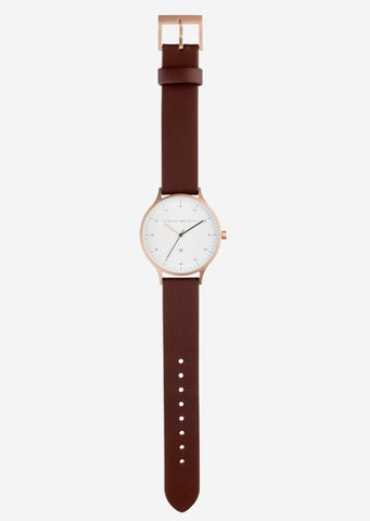 Status Anxiety - Inertia Watch - Brushed Copper / White Face / Brown Strap