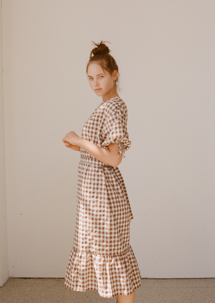 Wellington Factory - Frankie Dress - Brown Gingham