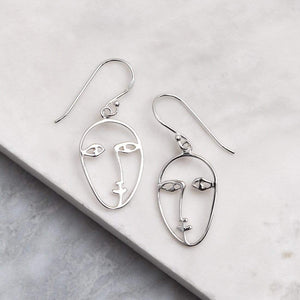 Picasso Face Earrings - Silver