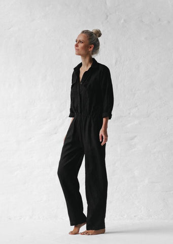Linen Playsuit - Black - Scout Newcastle