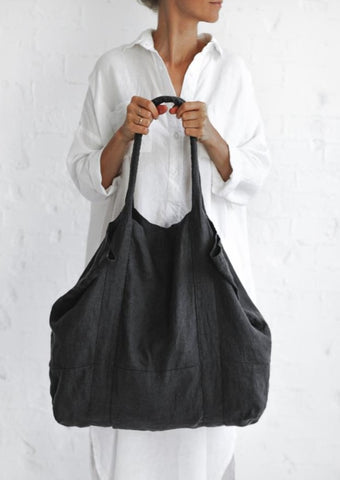 Linen Tote Bag - Dark Grey