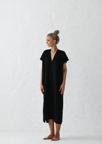 Linen V Neck Dress - Black - Scout Newcastle