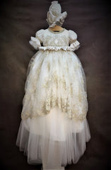 Girls Champaign color Heirloom Christening Gown by Piccolo Bacio