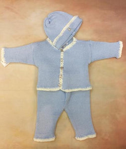 CPK601 Baby Boy Sky Blue/ white  Cotton Cardigan Pant Hat set jewel bear button - Nenes Lullaby Boutique Inc