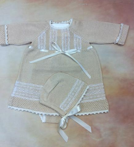 Baby Girl 100% Ivory with lace  Pima Cotton Designer Knit Dress - Nenes Lullaby Boutique Inc