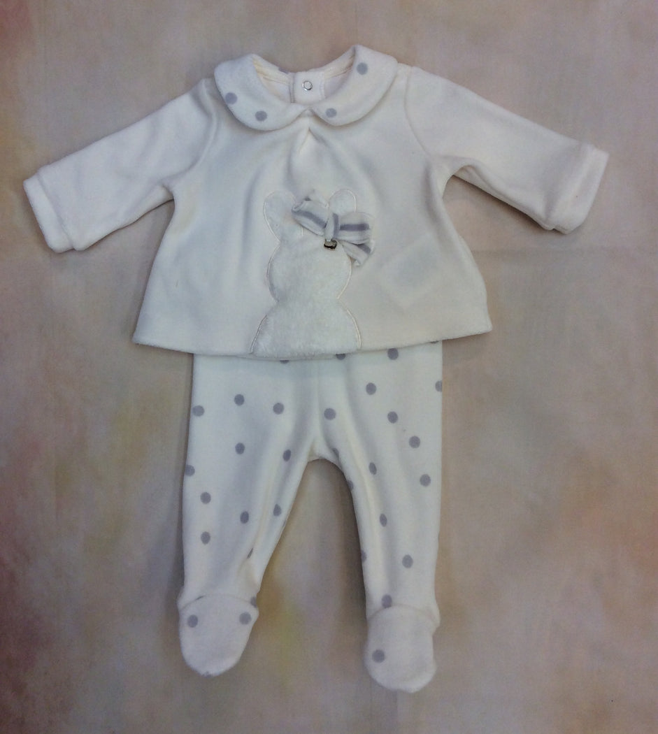 So so Two piece baby girl cream & gray dot baby footed layette piece with bunny accent Style# 2501
