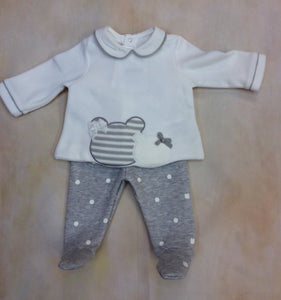 Little Girl Cream Velvel & Gray White Dot footed layette 2 piece set 2501