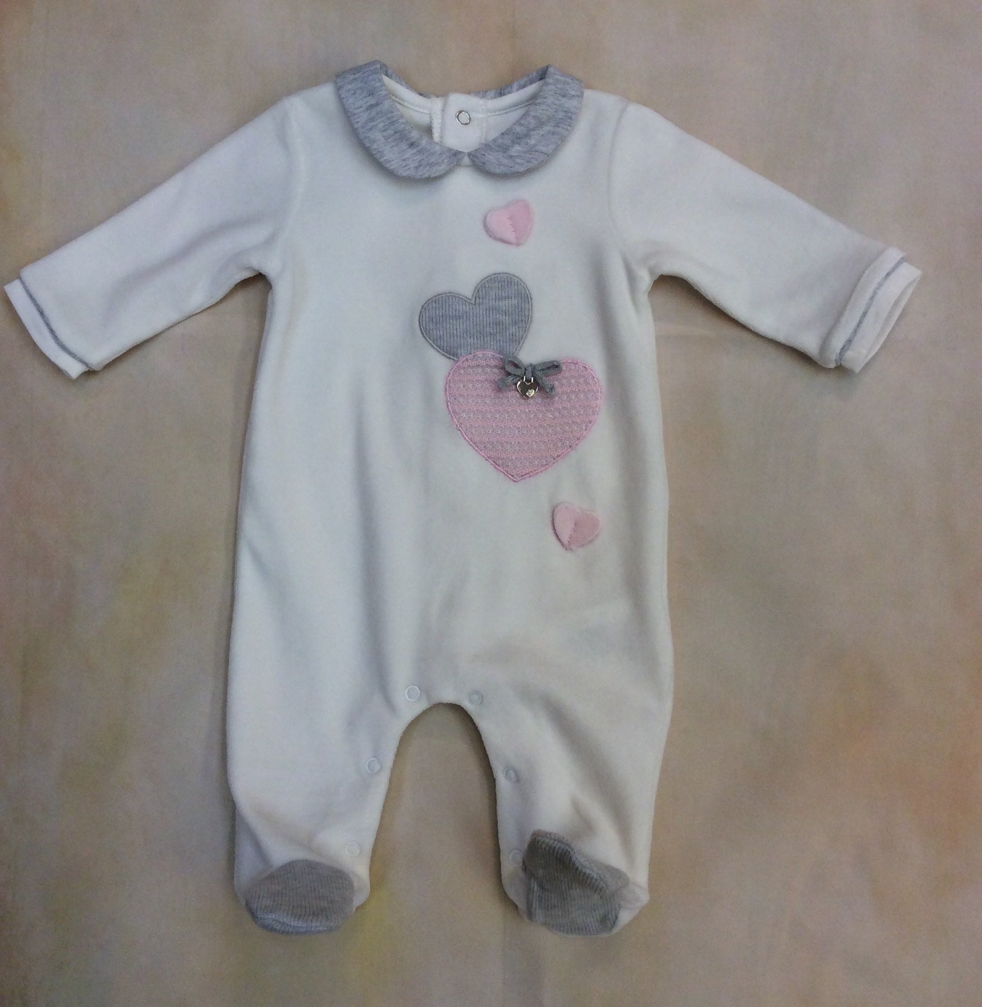 So soft all cream velvet with gray & pink heart footed little girl layette outfit Style#2703 - Nenes Lullaby Boutique Inc