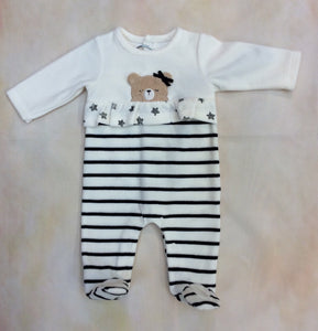 2711_3 Cream & Black strip girls footed layette outfit