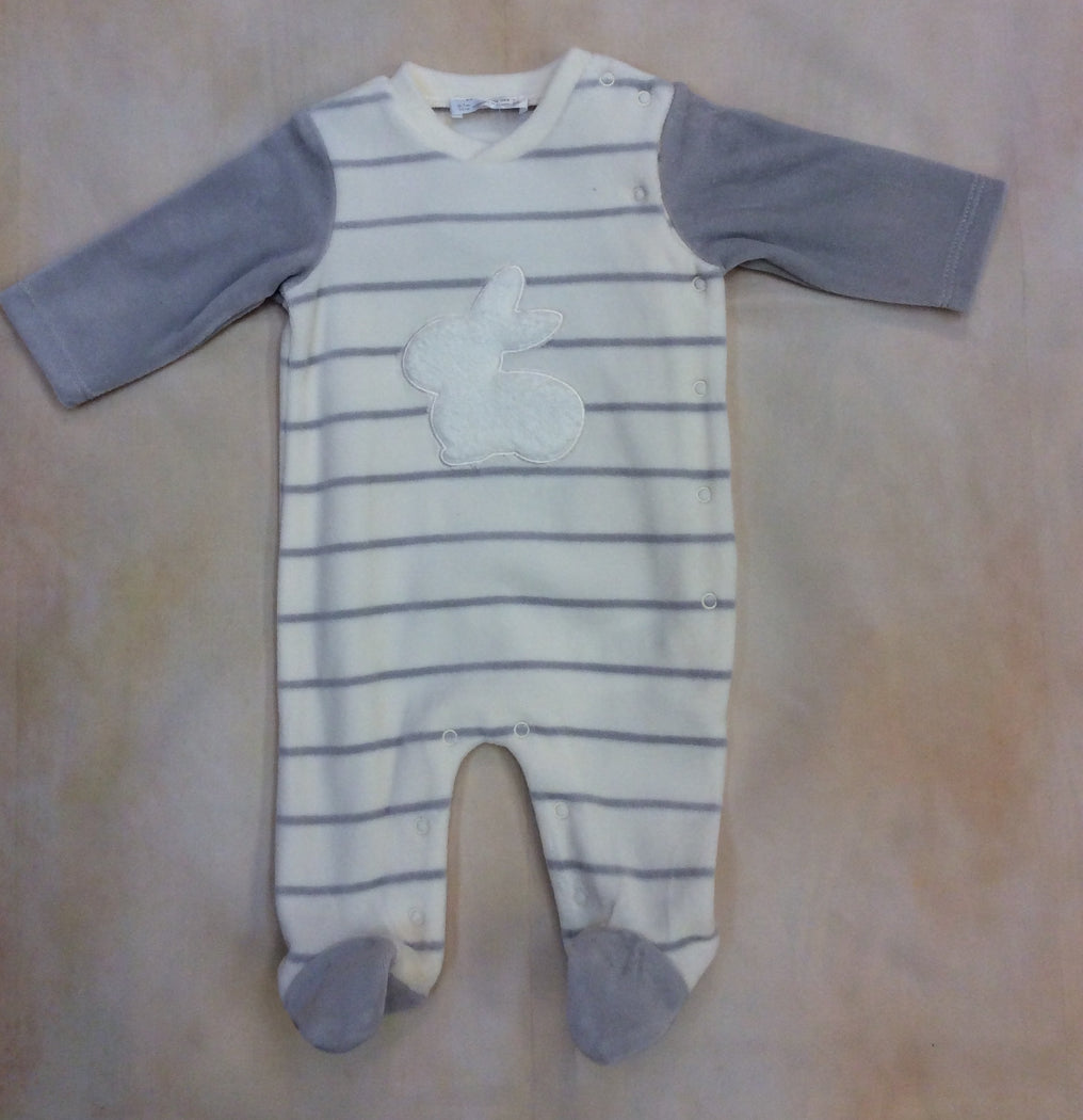 Gray & Cream baby boy stripe with bunny Velvet & footed Style #2716a