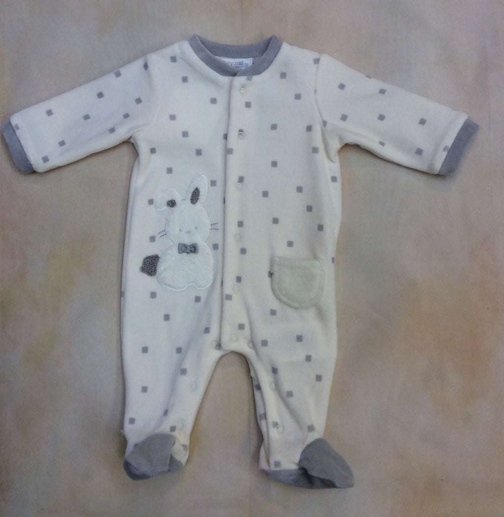 Little Boy Velvet Cream and gray square dot with bonney footed layette outfit #2706