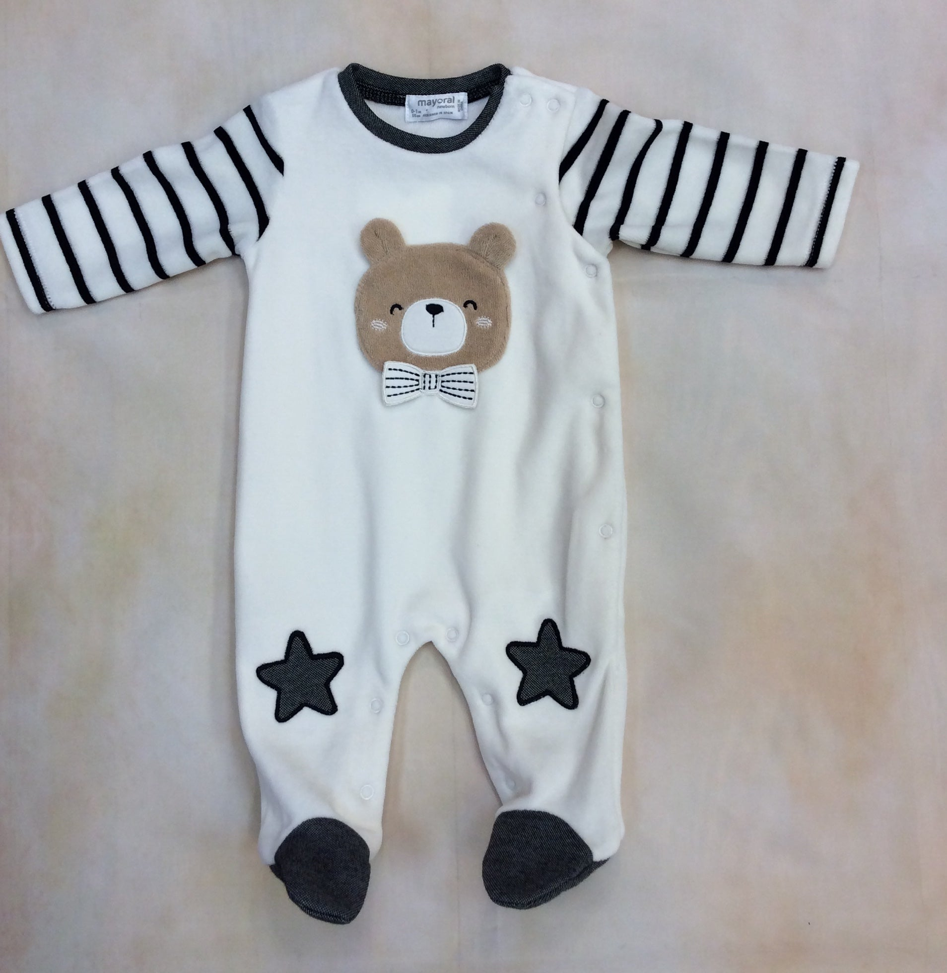 2727 Baby boy Cream & Gray & Black side snap baby layette footed outfit