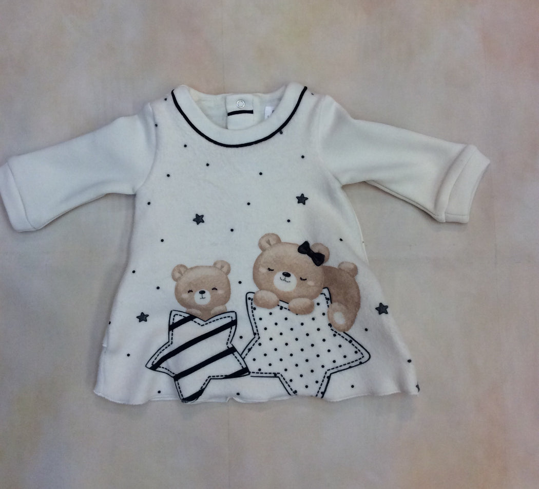 Style #2808 Baby Girl Soft velvet dress with star bear motif