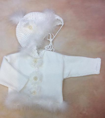 CK637CG Baby Girl White Cardigan and Hat set Jewel pearl button/ white marabou trim - Nenes Lullaby Boutique Inc