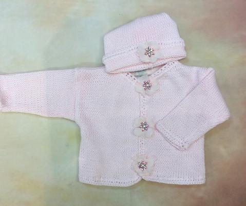 CK637CGPKBaby Girl Pink  Cardigan and Hat set Jewel pearl button - Nenes Lullaby Boutique Inc