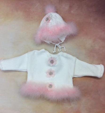 CK638WP Baby Girl White/Pink Cardigan and Hat set Jewel Flower  button/Pink marabou trim - Nenes Lullaby Boutique Inc