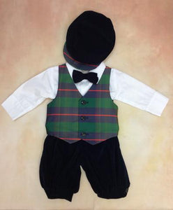 Boys Satin Plaid Vest Navy Blue Velvet Knicker Holiday Outfit with matching rider cap LKC568 - Nenes Lullaby Boutique Inc