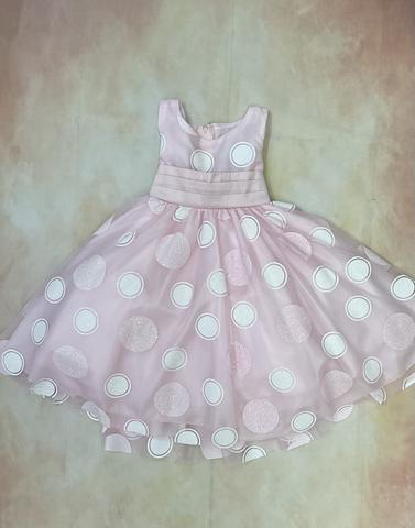 M680 Pink & White White & Pink Dot Spring & Summer Easter Holiday Dress - Nenes Lullaby Boutique Inc