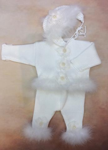 CPK37x Baby Girl White Cotton Cardigan Pant Hat set with Marabou trim - Nenes Lullaby Boutique Inc