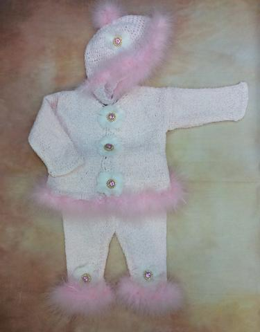 CPK635KPC Baby Girl Pink Chenille Cardigan/pant/hat set with jewel button pink marabou - Nenes Lullaby Boutique Inc