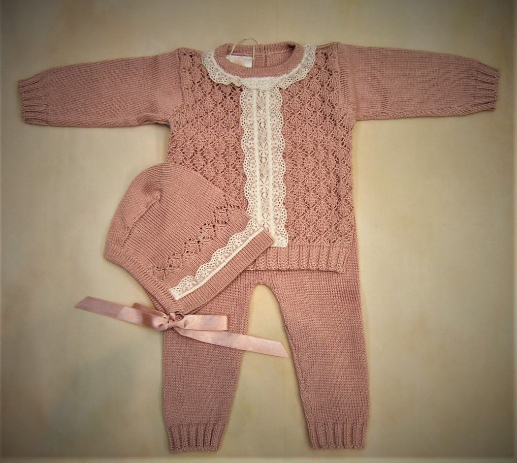 100% Pima Cotton baby girl 3 piece set ADT3PZ063