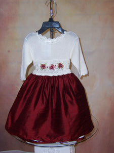 Hand Crochet Knit Top and Silk Bottom Skirted Holiday Dress ATK110