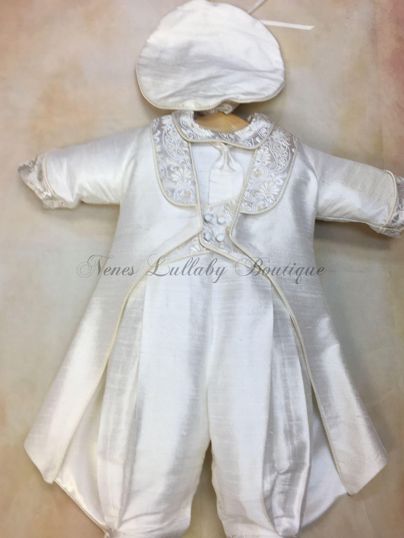 Aldo Silk & gold brocade Boys Christening Suit by Piccolo Bacio Couture PB_Aldo_sk - Nenes Lullaby Boutique Inc