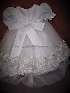 Amelia Christening Short Dress by Macis Design - Nenes Lullaby Boutique Inc