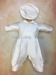 Andrew Boys Silk Christening outfit by Piccolo Bacio with newsboy cap - Nenes Lullaby Boutique Inc