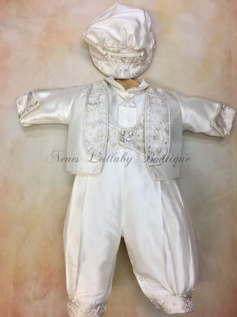 Antonio White Silk Christening Suit by Piccolo Bacio PB_Antonio_ws_lp - Nenes Lullaby Boutique Inc