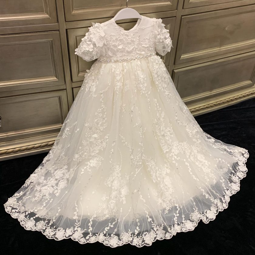B116 Christening Gown By Teter Warm Baptism & Christening - Nenes Lullaby Boutique Inc