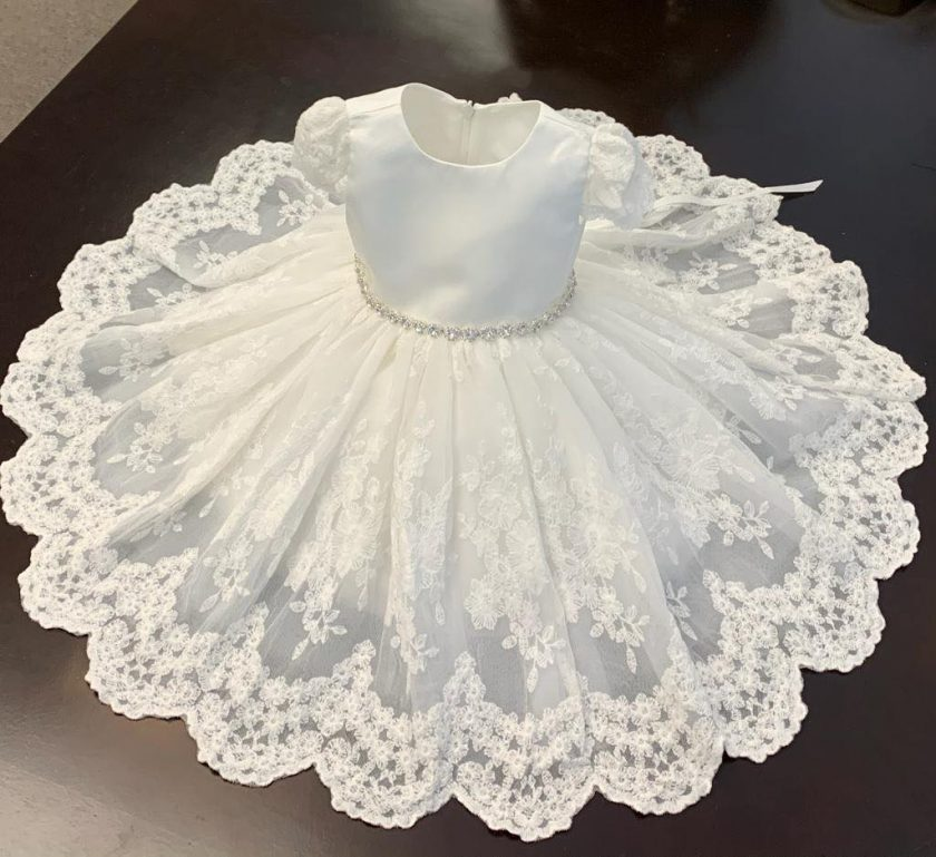 B119 Teter Warm Baptism & Christening Gown - Nenes Lullaby Boutique Inc