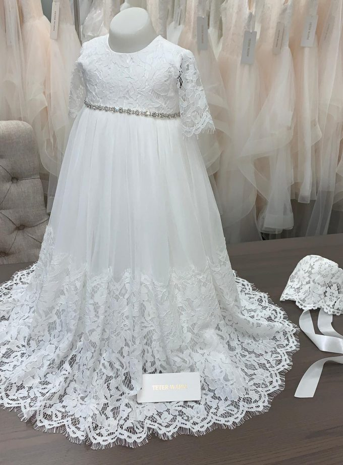 B66 Long sleeve lace christening gown with Rhinestone belt and matching bonnet