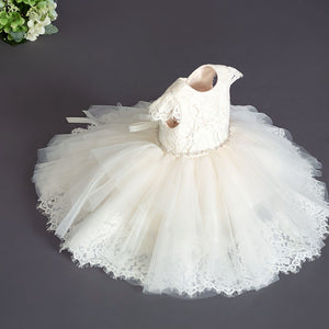 B94 Teter Warm Light Blush Baptism Christening or dedication short Dress w/Bonnet - Nenes Lullaby Boutique Inc