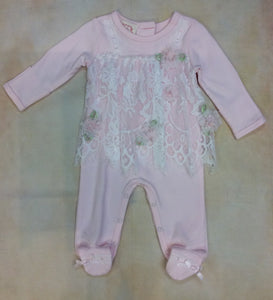 Baby Girl footed layette outfit BCDCHN303PK