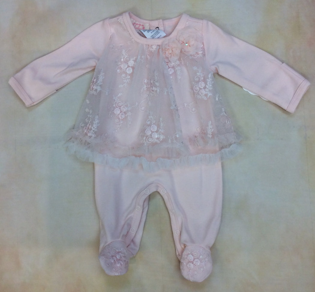 Baby Girl Pima Cotton & Lace Peach Footed layette BCDCHS309PH