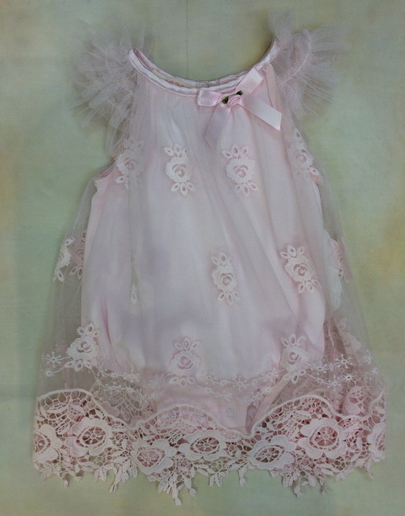 Baby Girl Bubble with Cut-out lace overlay BCDCHR307P
