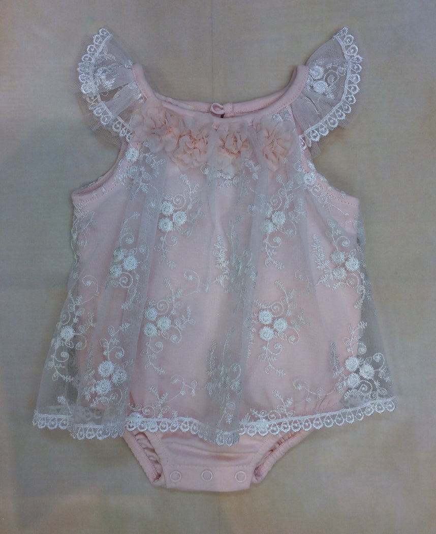 Baby Girl Bubble Peach Lace BCDCHR312