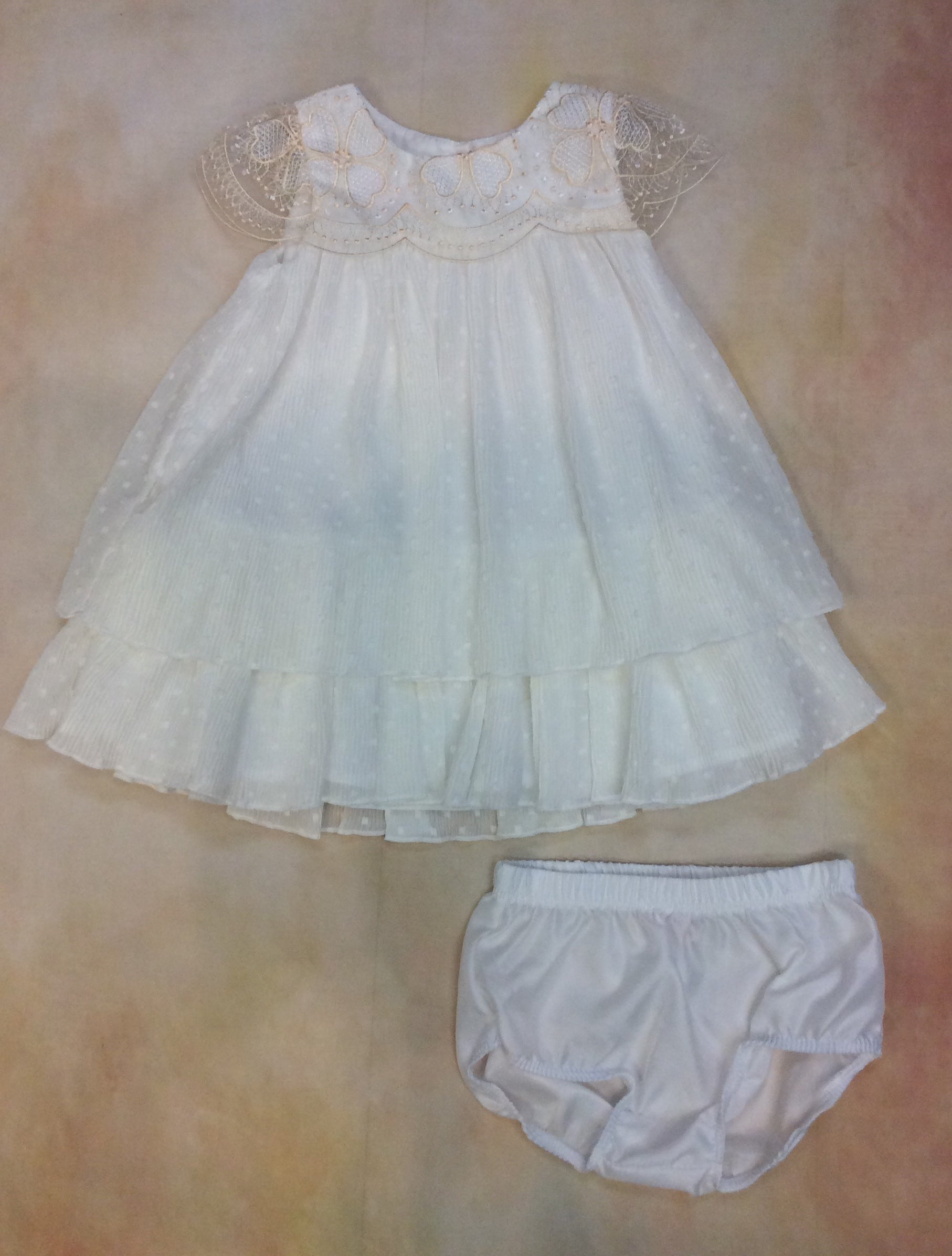 Baby Girls Ivory/Champagne lace dress w/panty BCDCHS501 - Nenes Lullaby Boutique Inc