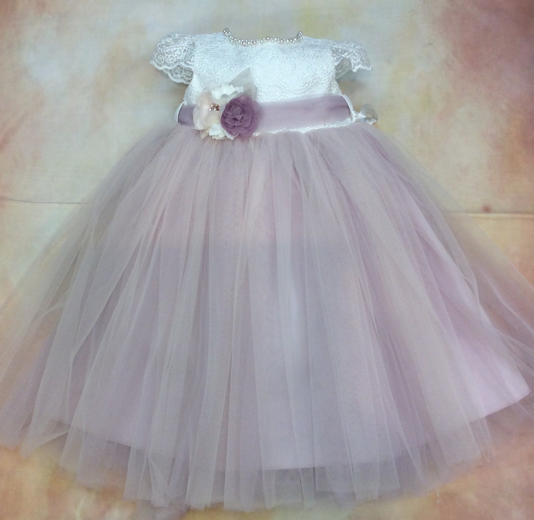 BG20102PWD Girls Special Occasion lace & tulle with pearl accented neckline heart design back & matching hair clip - Nenes Lullaby Boutique Inc