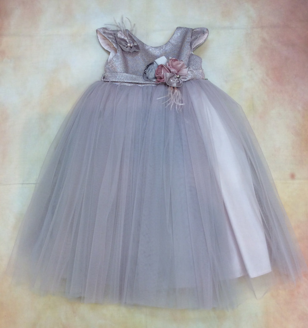 BG9142PWD Girls Special Occasion Party Dress festive Holiday top tulle skirt & matching hair clip - Nenes Lullaby Boutique Inc