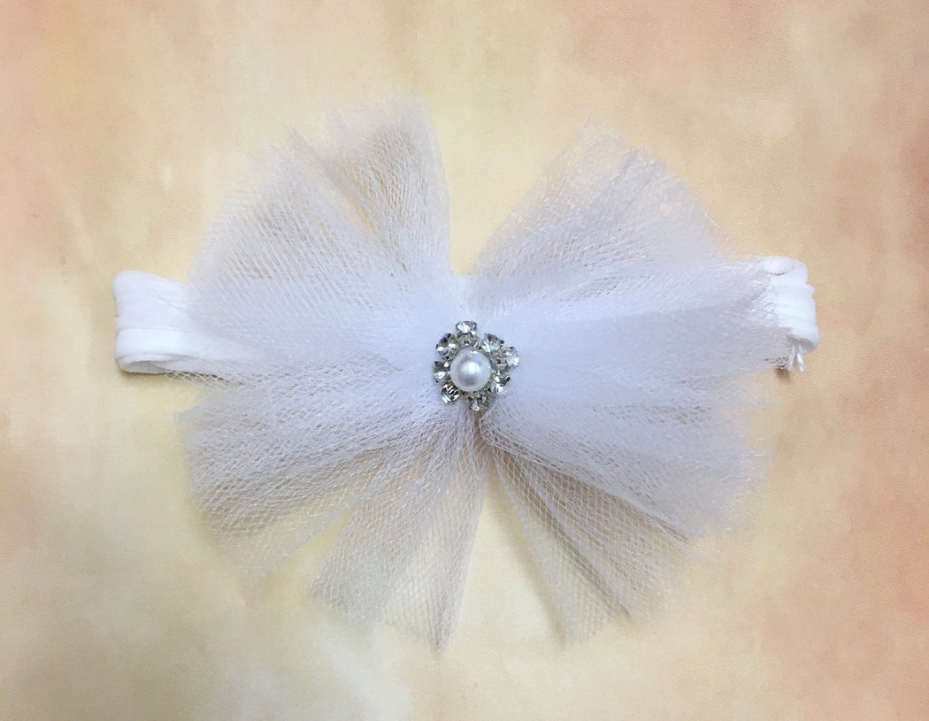 BW1 Tulle headband with rhinestone pearl center on stocking stretch band - Nenes Lullaby Boutique Inc