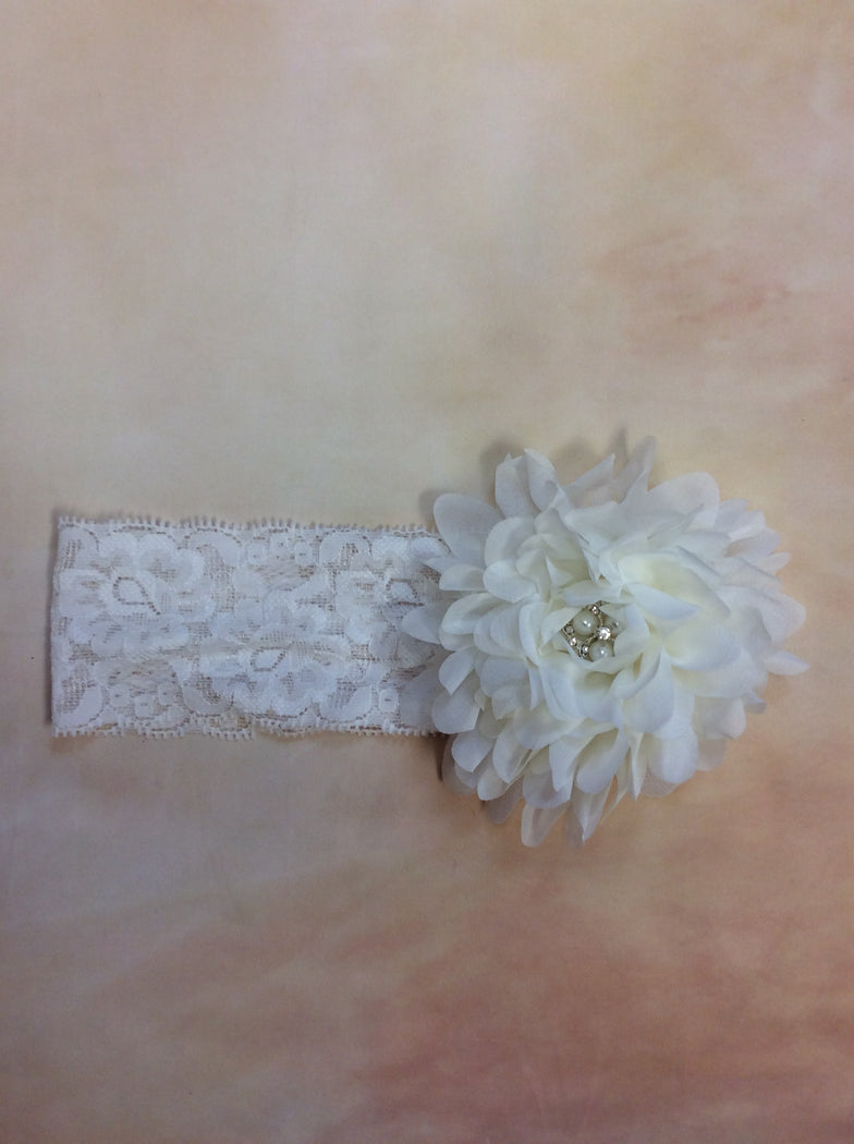 BWIL6 Diamond White Lace headband with Pearl & Rhinestone Center Stone - Nenes Lullaby Boutique Inc