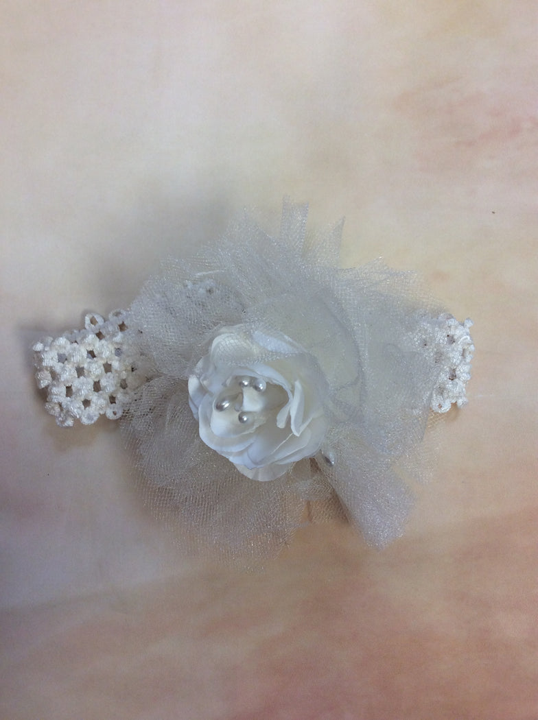BWITE12 Tulle /flower & pearl diamond white headband - Nenes Lullaby Boutique Inc