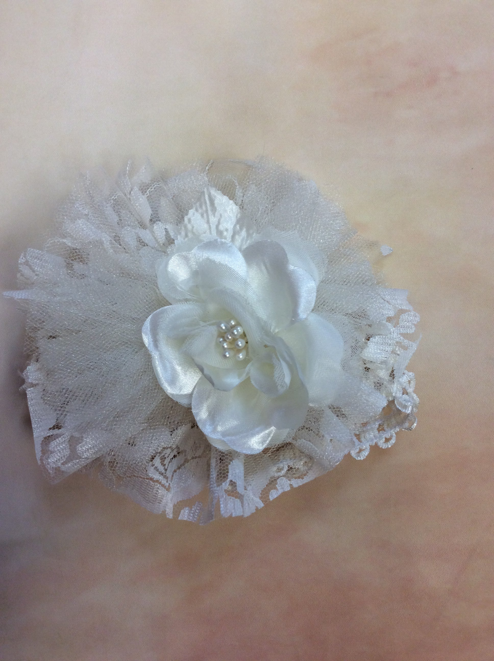 BWLIE11 Diamond white lace tulle and floral headband with pearl center - Nenes Lullaby Boutique Inc
