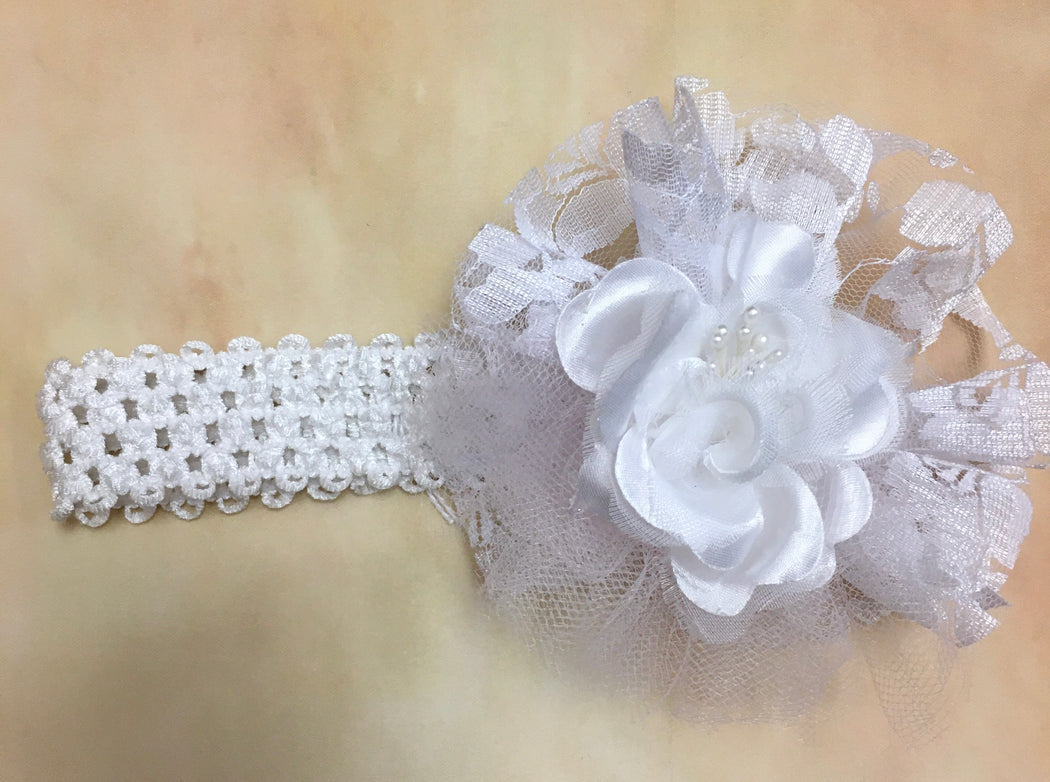 BWLP6 White /light pink headband with lace & stain accent - Nenes Lullaby Boutique Inc