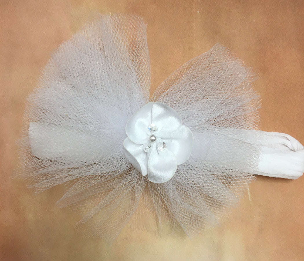 BWT4STP  White Tulle & Satin Pearl headband accent on soft stocking band - Nenes Lullaby Boutique Inc