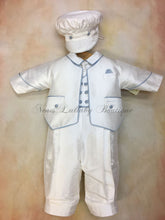 Load image into Gallery viewer, Blue Nunzio 100% white silk Christening suit with blue piping on jacket vest with long pant matching newsboy cap