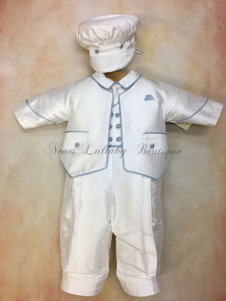 Blue Nunzio 100% white silk Christening suit with blue piping on jacket vest with long pant matching newsboy cap - Nenes Lullaby Boutique Inc