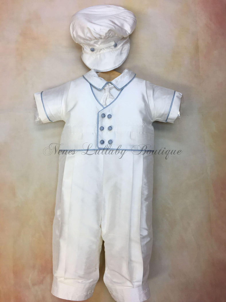 Blue Pio White Silk with blue trim Christening outfit by Piccolo Bacio PB_Blue_Pio_ws_ss_lp - Nenes Lullaby Boutique Inc